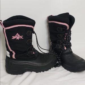 Weather Spirits Black&Pink Tall Leather Snow Boots